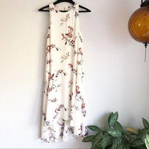 Leith floral drop waist sleeveless high low dress